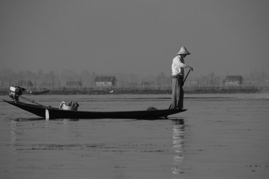 Un pêcheur quêtant les poissons