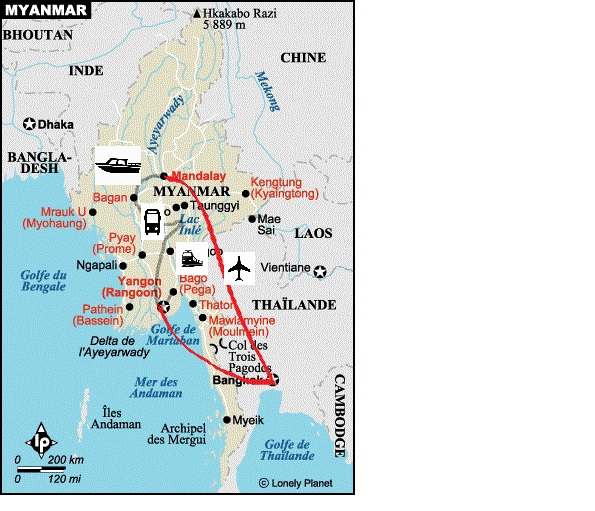 Trajet Bangkok - Mandalay Mandalay-Bagan Bagan-Lac Inle Lac Inle-Yangon Yangon-Bago Yangon-Bangkok